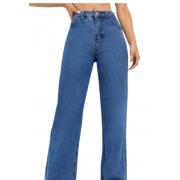 Calça Jeans Feminina Wide Leg  Cintura Alta Tendencia Blogueira