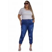 Calça Jeans Plus Size Jogger Destroyed Feminina Cintura Alta Blogueira