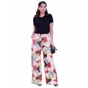 Calça Pantalona Feminina Cintura Alta com Bolso Estampada