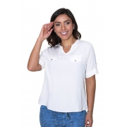 Camisa Blusa Feminina Manga Curta Social Lisa Off White