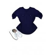 Camisa Blusa Feminina Manga Curta Social Lisa Azul Marinho