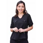Camisa Blusa Feminina Manga Curta Social Lisa Preto