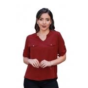 Camisa Blusa Feminina Manga Curta Social Lisa Vinho