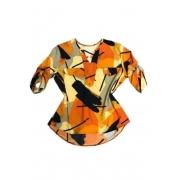 Camisa Blusa Feminina Manga Curta Social Sport Estampada Amarela