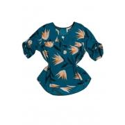 Camisa Blusa Feminina Manga Curta Social Sport Estampada Azul Petróleo