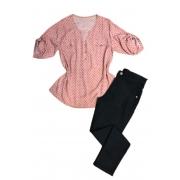 Camisa Blusa Feminina Manga Curta Social Sport Rosa Estampada