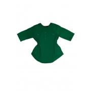 Camisa Blusa Feminina Manga Curta Social Verde Bandeira