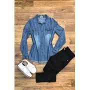 Camisa Blusa Feminina Jeans Listra