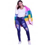 Casaco Inverno Feminino Listrado Colorido Rainbow com Bolso