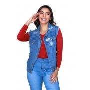 Colete Curto Jeans Feminino com Botões