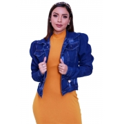 Jaqueta Jeans Feminina Bufante Blogueira