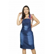 Jardineira Salopete Feminina Jeans Moda Evangélica Midi Bolso Frontal