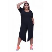 Macacão Assimétrico Feminino Plus Size Pantacourt