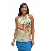 Blusa Camisa Regata Feminina Laço Pescoço Gola Alta Social Off White