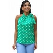 Blusa Camisa Regata Feminina Laço Pescoço Gola Alta Social Verde