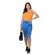 Saia Feminina Jeans Midi com Bolso e Fenda Frontal