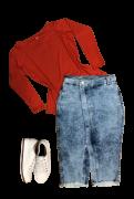 Saia Feminina Jeans Midi com Bolso e Fenda Lateral