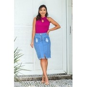 Saia Jeans Bolso Destroyed Frontal