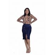 Saia Jeans Com Fenda Transversal Midi Moda Evangélica