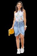Saia Jeans Feminina Botões Frontal Abertura