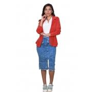 Saia Jeans Feminina Midi com Fenda e Cinto