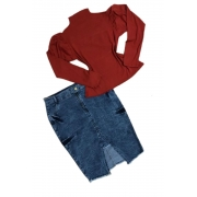 Saia Jeans Feminina Plus Size Mescla