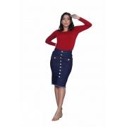 Saia jeans Midi Feminino Com Detalhe Botões