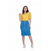 Saia Jeans Midi Detalhe Botões Frontais Moda Blogueira
