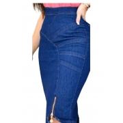 Saia Jeans Midi Lápis Detalhe Zíper na Barra Lateral