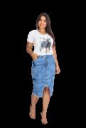 Saia Jeans Midi Mescla