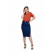 Saia Jeans Midi Secretária Fenda Lateral Feminina