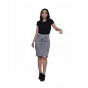 Saia  Jeans Moda Evangélica Feminina Cintura Alta Cinza Escuro