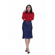 Saia Midi Moda Jeans Detalhe Botão Lateral Godê