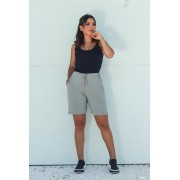 Shorts Básico Feminino Cinza Claro