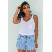 Shorts Jeans Feminino Marmorizado