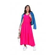 Vestido Babado Midi Soltinho Blogueira Feminina Manga Curta Pink