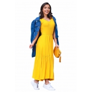 Vestido Babado Midi Soltinho Blogueira Manga Curta Amarelo