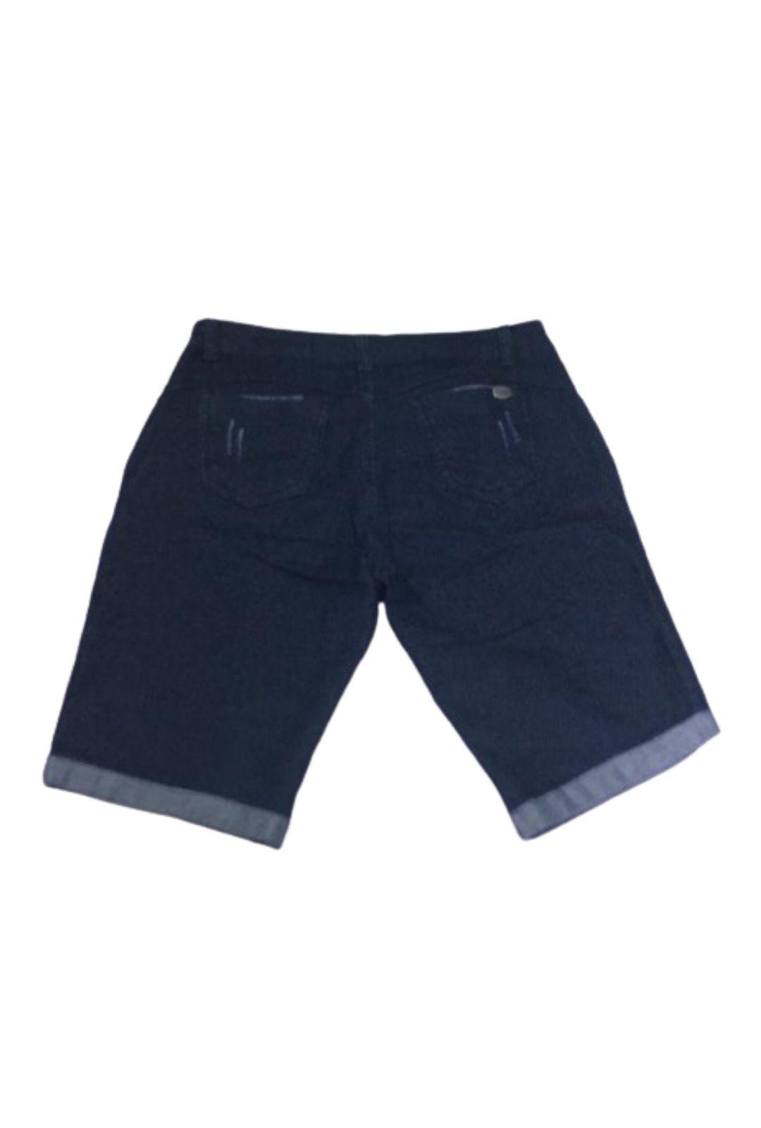 Bermuda Jeans Escuro com Barra Dobrada  - ModaStore   Moda Feminina