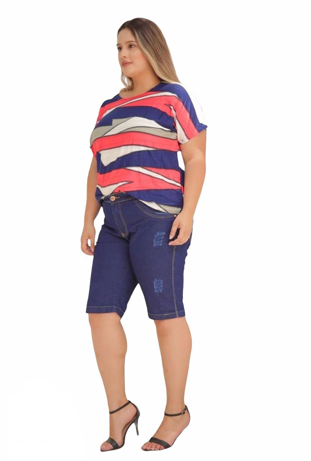 Bermuda Jeans Plus Size Barra Reta  - ModaStore   Moda Feminina