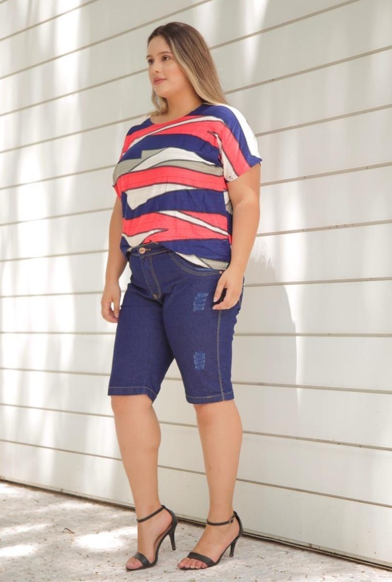 Bermuda Jeans Plus Size Barra Reta  - ModaStore