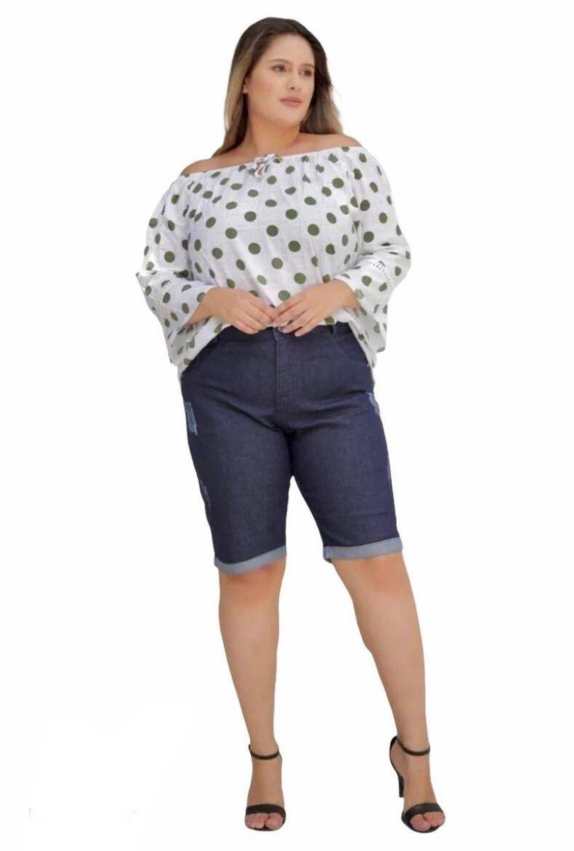 Bermuda Jeans Plus Size Estonada Barra Reta  - ModaStore | Moda Feminina