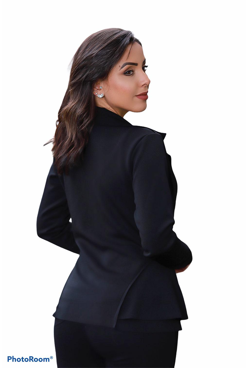 Blazer Casaquinho Neoprene Feminino Terninho Preto  - ModaStore   Moda Feminina
