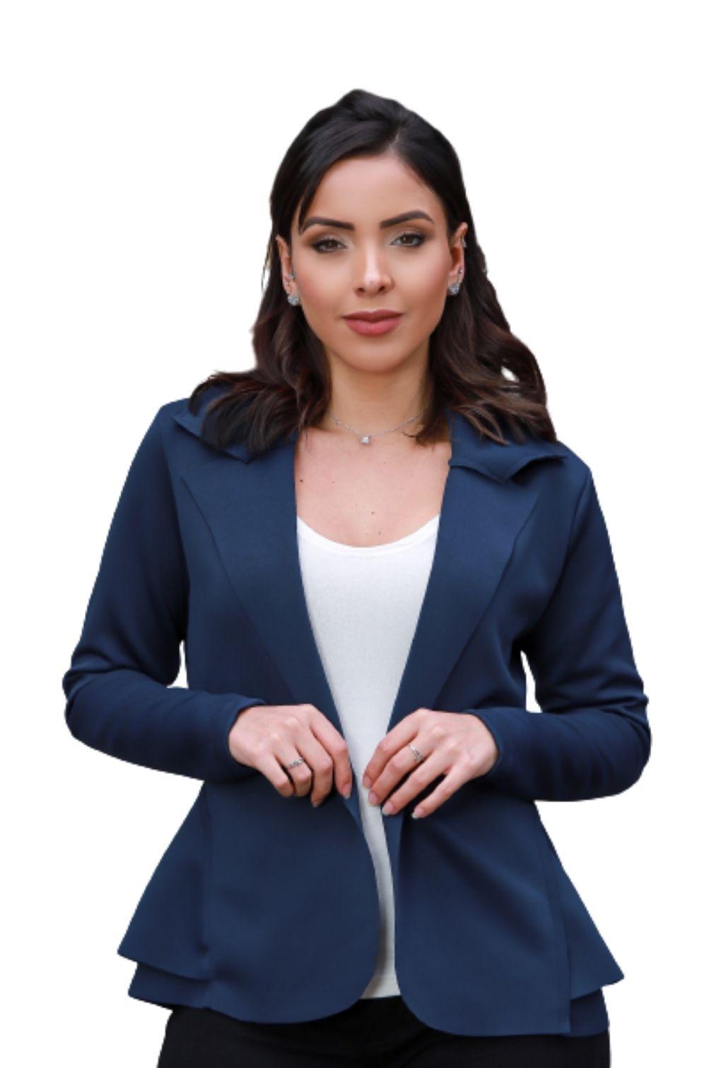 Blazer Casaquinho Neoprene Feminino Terninho Azul Marinho  - ModaStore   Moda Feminina