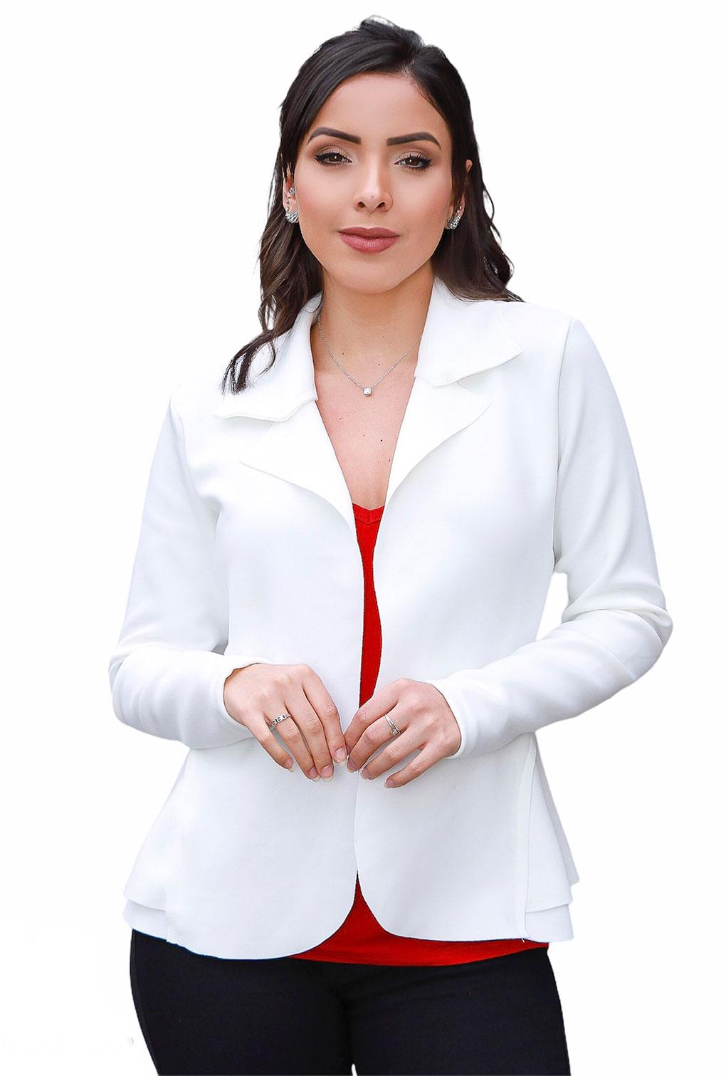 Blazer Casaquinho Neoprene Feminino Terninho Branco.  - ModaStore | Moda Feminina
