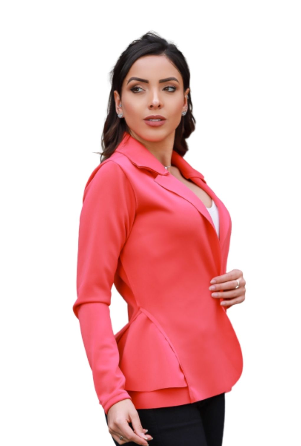 Blazer Casaquinho Neoprene Feminino Terninho Coral  - ModaStore | Moda Feminina