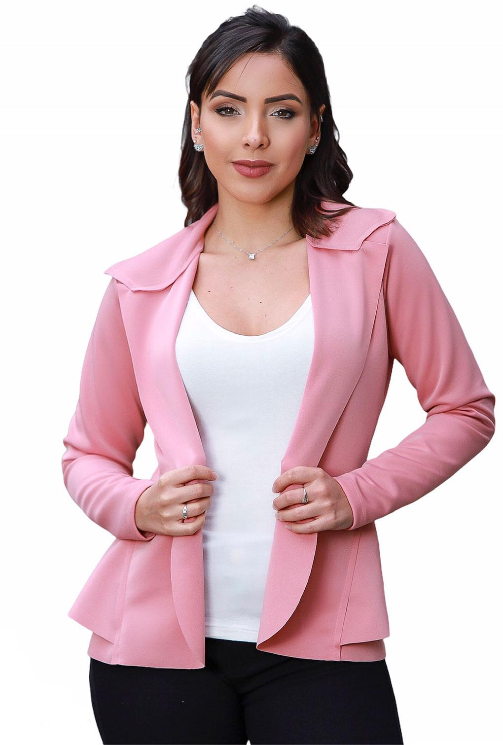 Blazer Casaquinho Neoprene Feminino Terninho Rosa  - ModaStore | Moda Feminina