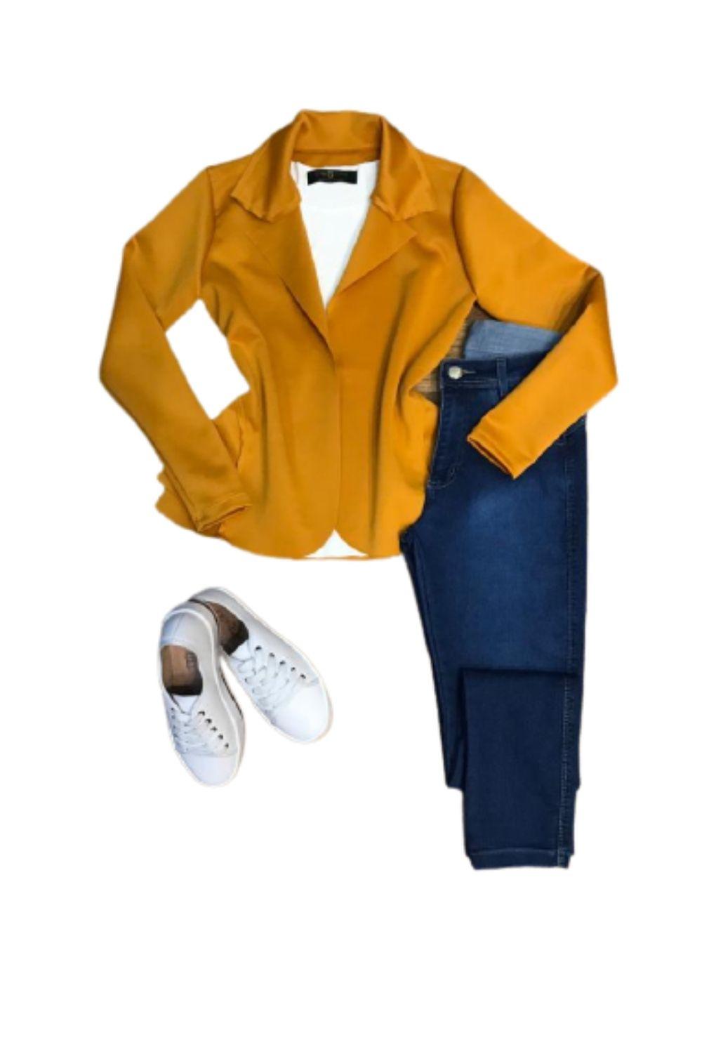 Blazer Casaquinho Neoprene Feminino Terninho Mostarda  - ModaStore   Moda Feminina