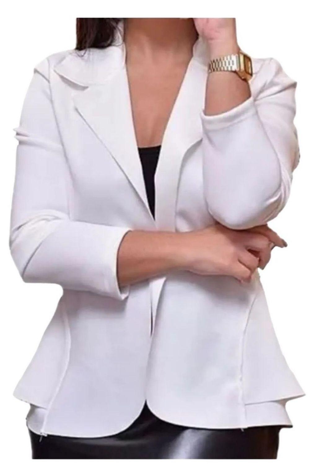 Blazer Casaquinho Neoprene Feminino Terninho Off White.  - ModaStore   Moda Feminina