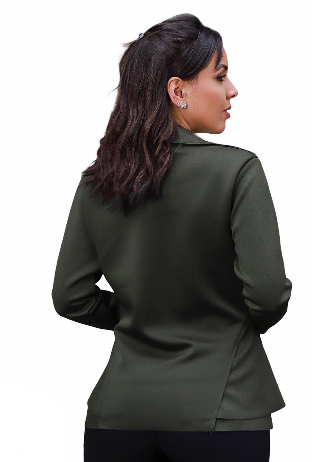 Blazer Casaquinho Neoprene Feminino Terninho Verde Militar  - ModaStore | Moda Feminina