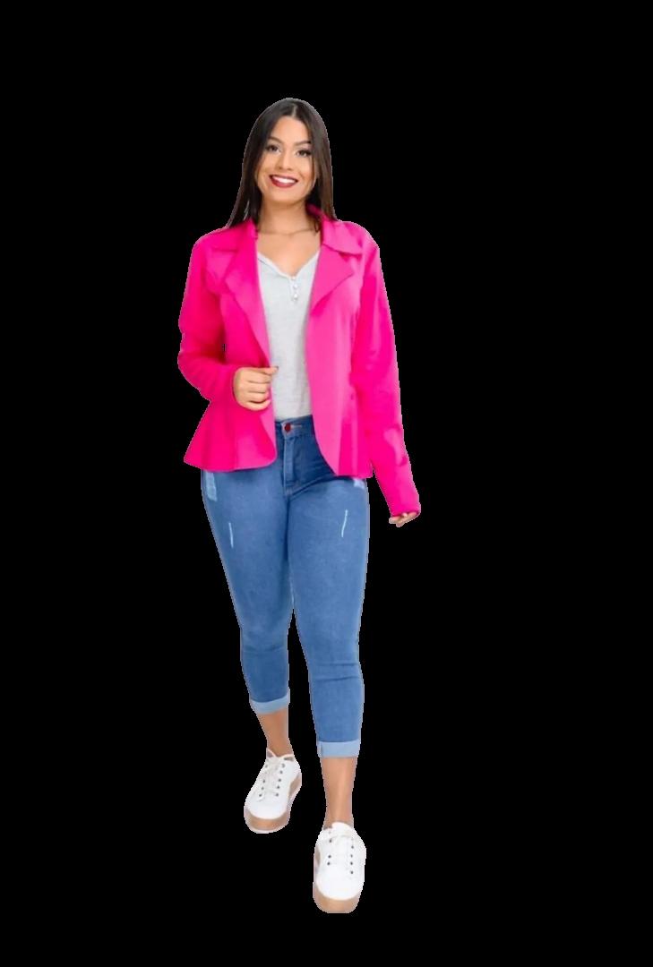 Blazer Casaquinho Neoprene Feminino Terninho  Pink  - ModaStore | Moda Feminina